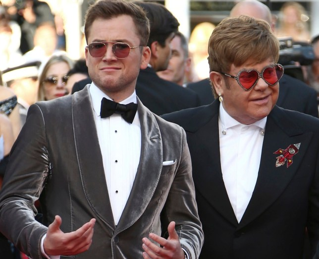 Taron Egerton and Elton John at Rocketman premiere