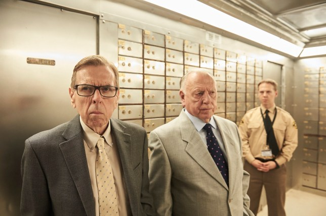 Terry Perkins (Timothy Spall), Brian Reader (Kenneth Cranham) and Gary Stevenson (Thomas Coombes) in a promotional photo for Hatton Garden, a heist drama on ITV