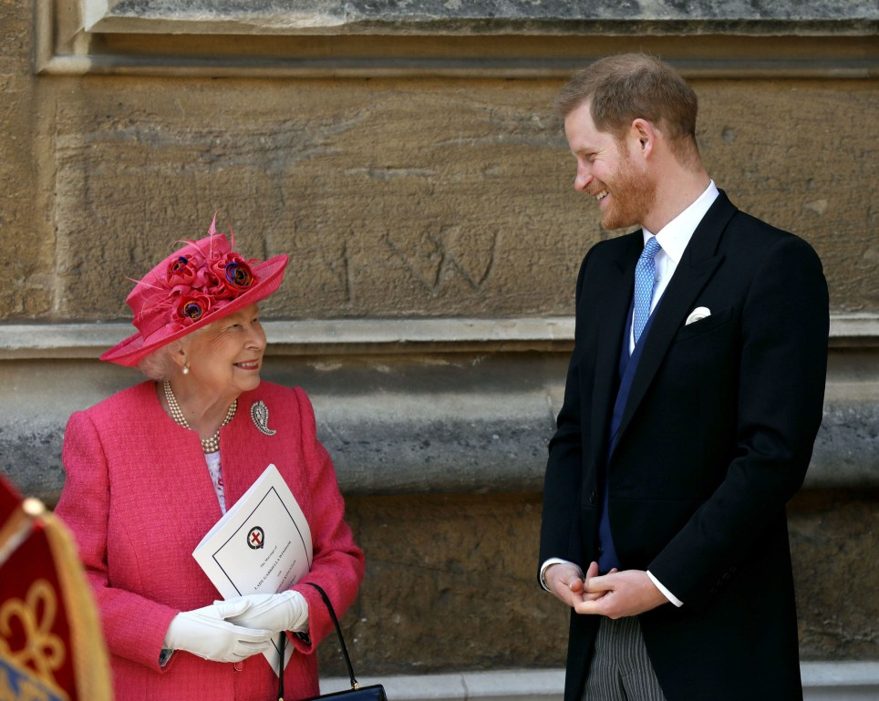 Queen Elizabeth II talks to the Duke of Sussex as they leave after the wedding of Lady Gabriella Windsor and Thomas Kingston at St George's Chapel in Windsor Castle. PRESS ASSOCIATION Photo. Picture date: Saturday May 18, 2019. See PA story ROYAL Wedding. Photo credit should read: Steve Parsons/PA Wire