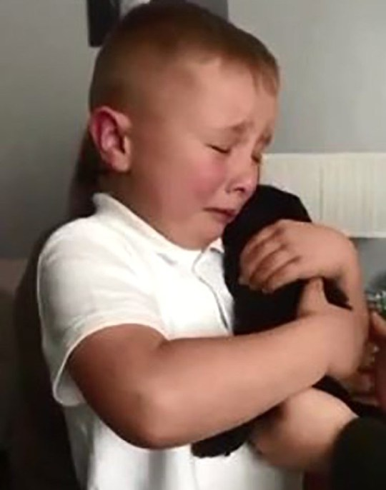 Adorable moment little boy finds out he has been given a puppy Provider: Rebecca Sparkle Browne Source: https://videos.metro.co.uk/video/met/2019/05/18/1967072935356877352/640x360_MP4_1967072935356877352.mp4