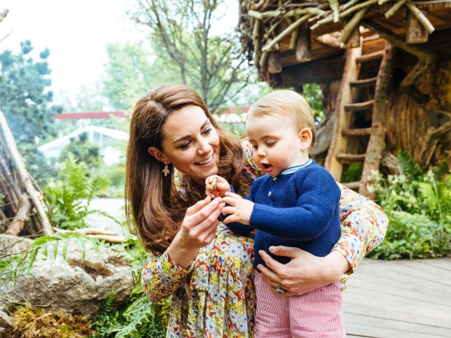 Kate Middleton and Prince Louis at the RHS Chelsea Flower Show garden