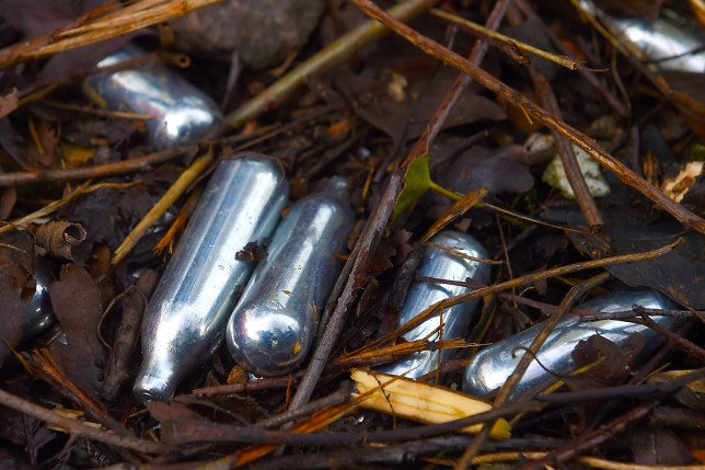 Embargoed to 0001 Tuesday May 21 File photo dated 18/12/16 of used canisters of nitrous oxide lying on the ground. Young people and festival-goers are being warned about the potentially catastrophic effects on the body of inhaling laughing gas. PRESS ASSOCIATION Photo. Issue Tuesday May 21, 2019. Leaders at the Royal College of Nursing (RCN) said a new public awareness campaign should be introduced to spell out the risks from nitrous oxide - which has been involved in the deaths of 36 people since 2001 in England and Wales. See PA story HEALTH Gas. Photo credit should read: Joe Giddens/PA Wire