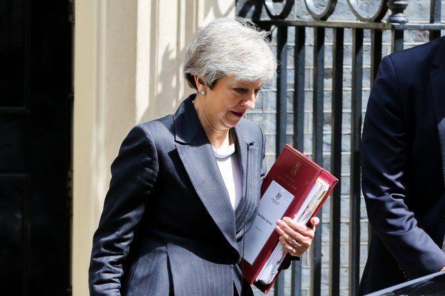 SIPA USA via PA Images British Prime Minister Theresa May is seen departing from Number 10 Downing Street to attend Prime Minister's Questions (PMQs) in the House of Commons on the eve of European Parliament elections. (Photo by Dinendra Haria / SOPA Images/Sipa USA)