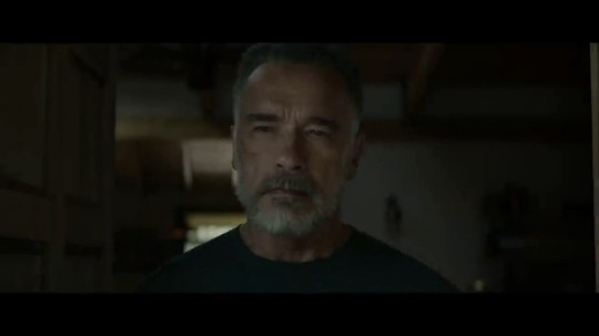 Arnold Schwarzenegge in a still from TERMINATOR: DARK FATE OFFICIAL HD TRAILER