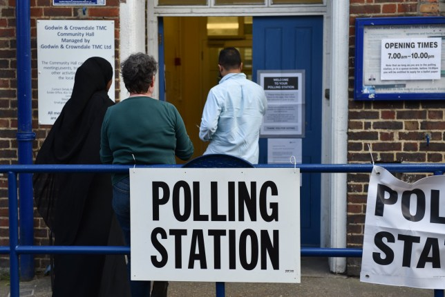 LONDON, ENGLAND - MAY 23: Members of the public arrive to cast their vote at a polling station in Camden Town on May 23, 2019 in London, United Kingdom. Polls are open for the European Parliament elections. Voters will choose 73 MEPs in 12 multi-member regional constituencies in the UK with results announced once all EU nations have voted. (Photo by John Keeble/Getty Images)