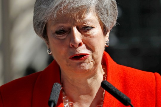 Britain's Prime Minister Theresa May reacts as she announces her resignation outside 10 Downing street in central London on May 24, 2019. - Beleaguered British Prime Minister Theresa May announced on Friday that she will resign on June 7, 2019 following a Conservative Party mutiny over her remaining in power. (Photo by Tolga AKMEN / AFP)TOLGA AKMEN/AFP/Getty Images