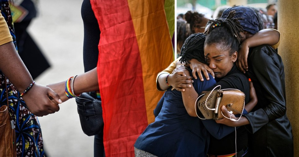 Kenyan gay and lesbian activists and their supporters commiserate after a ruling by the High Court in Nairobi, Kenya Friday, May 24, 2019. Kenya's High Court on Friday upheld sections of the penal code that criminalize same-sex relations, a disappointment for gay rights activists across Africa where dozens of countries have similar laws