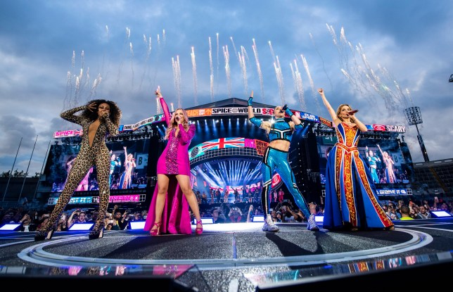 Melanie Brown, Emma Bunton, Melanie Chisholm and Geri Horner of the Spice Girls in concert at Croke Park in Dublin