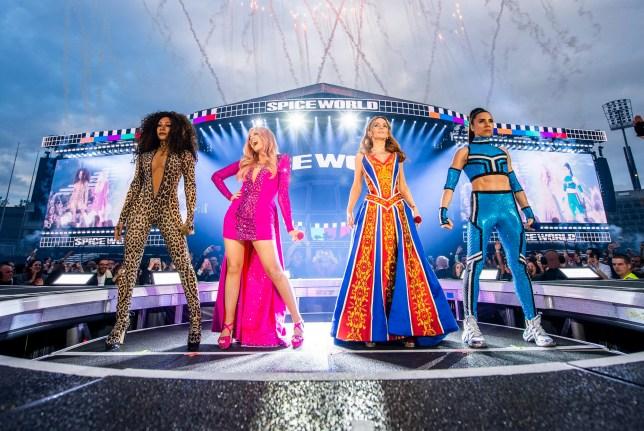 Mel B, Emma Bunton, Geri Halliwell and Melanie C of The Spice Girls perform on tour in Dublin, Ireland