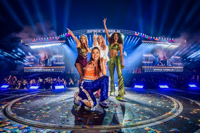 Spice Girls hop in cardboard box as they celebrate final Wembley show