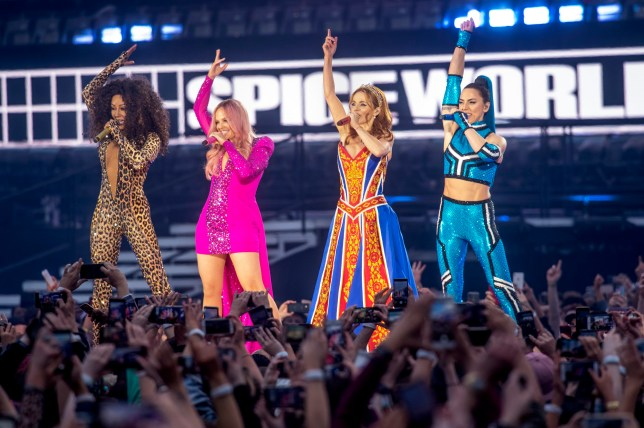 Mel B, Emma Bunton, Geri Halliwell and Melanie C of The Spice Girls pictured performing on the first night of their 2019 tour