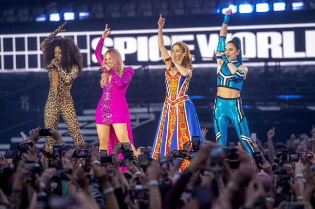 ***BESTPIX*** DUBLIN, IRELAND - MAY 24: Mel B, Emma Bunton, Geri Halliwell and Melanie C of The Spice Girls perform on the first night of the bands tour at Croke Park on May 24, 2019 in Dublin, Ireland. (Photo by Dave J Hogan/Getty Images)