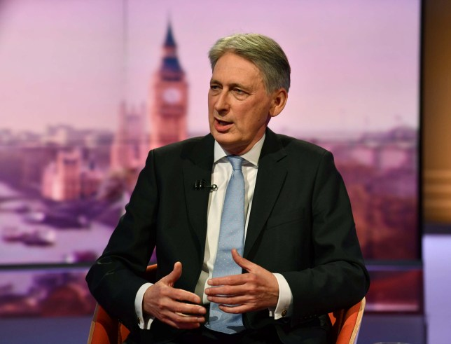 Philip Hammond MP, Chancellor of the Exchequer appears on BBC TV's The Andrew Marr Show in London, Britain, May 26, 2019. Jeff Overs/BBC/Handout via REUTERS ATTENTION EDITORS - THIS IMAGE HAS BEEN SUPPLIED BY A THIRD PARTY. NO RESALES. NO ARCHIVES. NOT FOR USE MORE THAN 21 DAYS AFTER ISSUE.