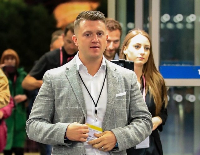 Tommy Robinson the independent candidate arrives ahead of the result in the European Parliamentary elections count at the Central Convention Complex in Manchester. PRESS ASSOCIATION Photo. Picture date: Sunday May 26, 2019. See PA story POLL Main. Photo credit should read: Peter Byrne/PA Wire