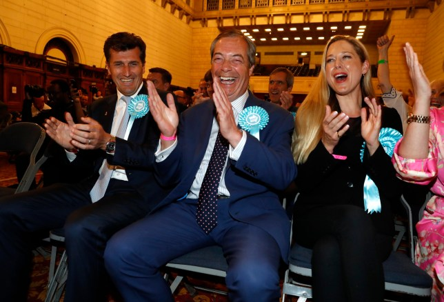 Brexit Party leader Nigel Farage as the results of the European elections come in