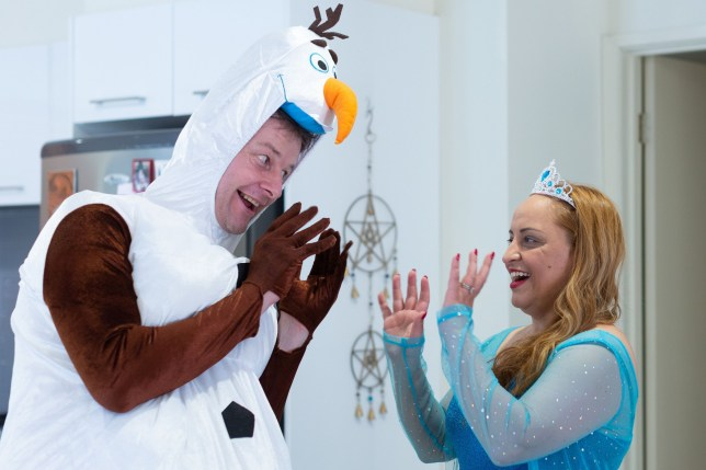 Elsa and Olaf... dressed as Elsa and Olaf from Frozen