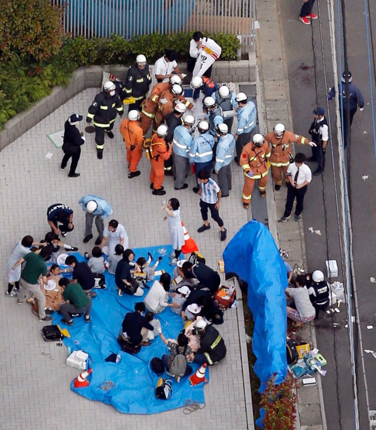 This aerial photo shows the scene of an attack in Kawasaki, near Tokyo