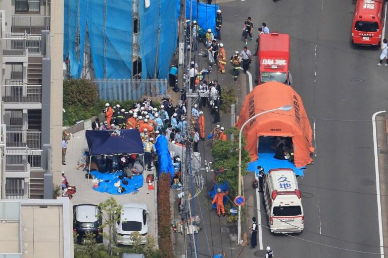 Rescue operation continues in Kawasaki, Kanagawa, Japan