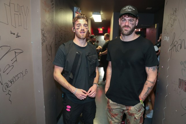 Andrew Taggart and Alex Pall from The Chainsmokers in concert