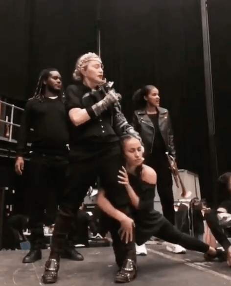 Madonna rehearsing for Eurovision