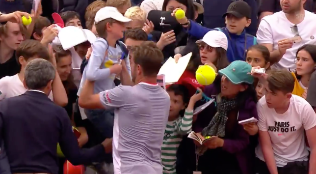 Stan Wawrinka pulled the young fan out of the crowd