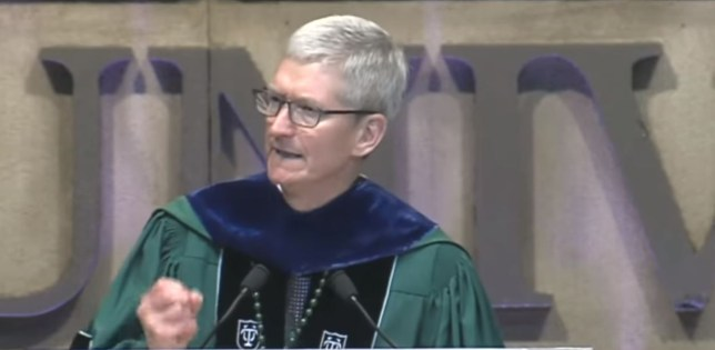 Tim Cook speaking at the commencement speech for Tulane University