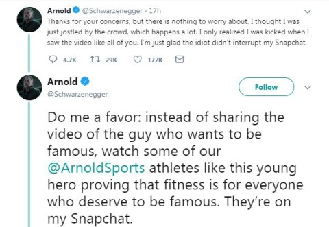 Arnold Schwarzenegger tweets about attack in South Africa