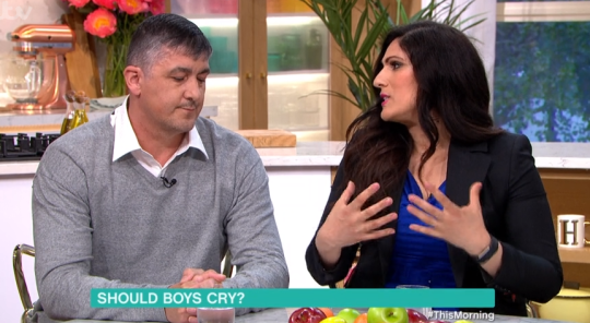ITV This Morning guests debate whether boys should cry