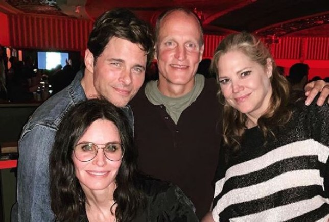 Courteney Cox hangs with Woody Harrelson, James Marsden and Mary McCormack at Snow Patrol gig