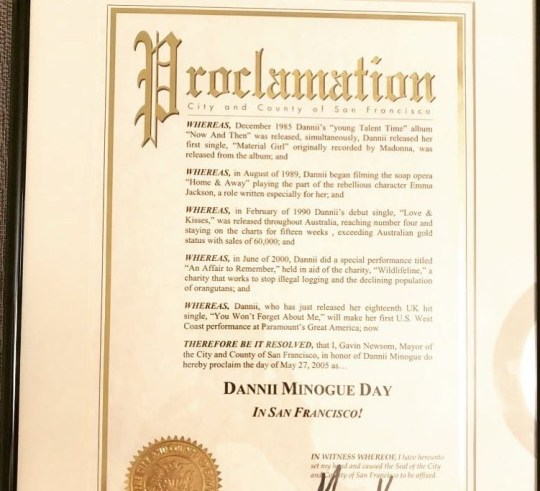 Dannii Minogue has an official day in San Francisco and our