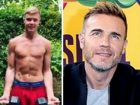 Gary Barlow shares topless workout video with 'lookalike' son Dan and fans are living for it