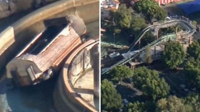 Castle Park, parc d'attractions, balade en rondins, accident, Californie