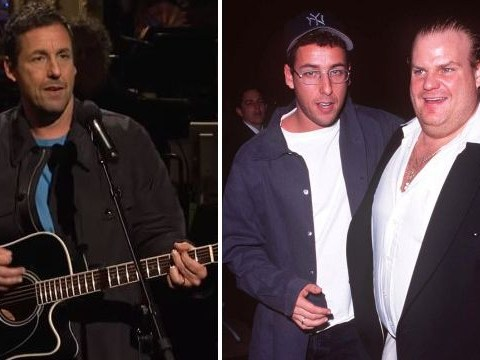 Adam Sandler pays emotional tribute to Saturday Night Live legend Chris Farley