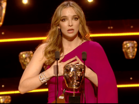 Jodie Comer apologises for 'turning on the waterworks' as she accepts Best Actress TV Bafta