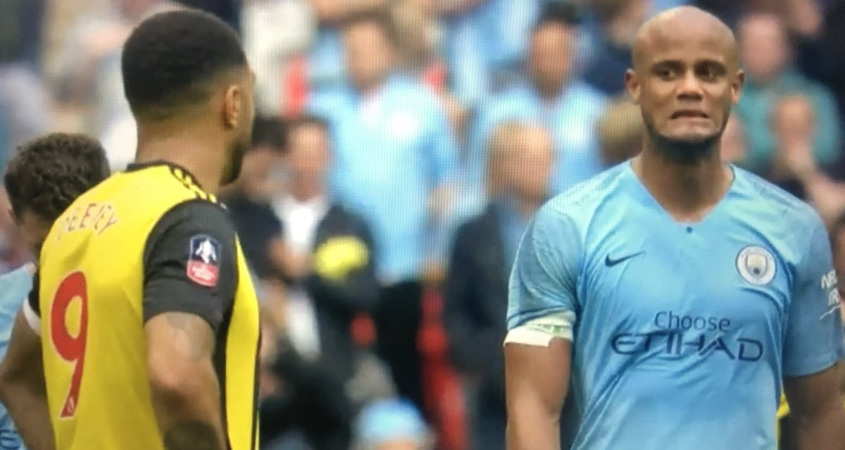Manchester City fans spot what Vincent Kompany told Troy Deeney during FA Cup final thrashing