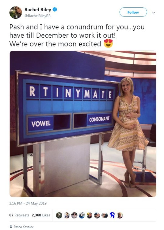Countdown's Rachel Riley announces pregnancy