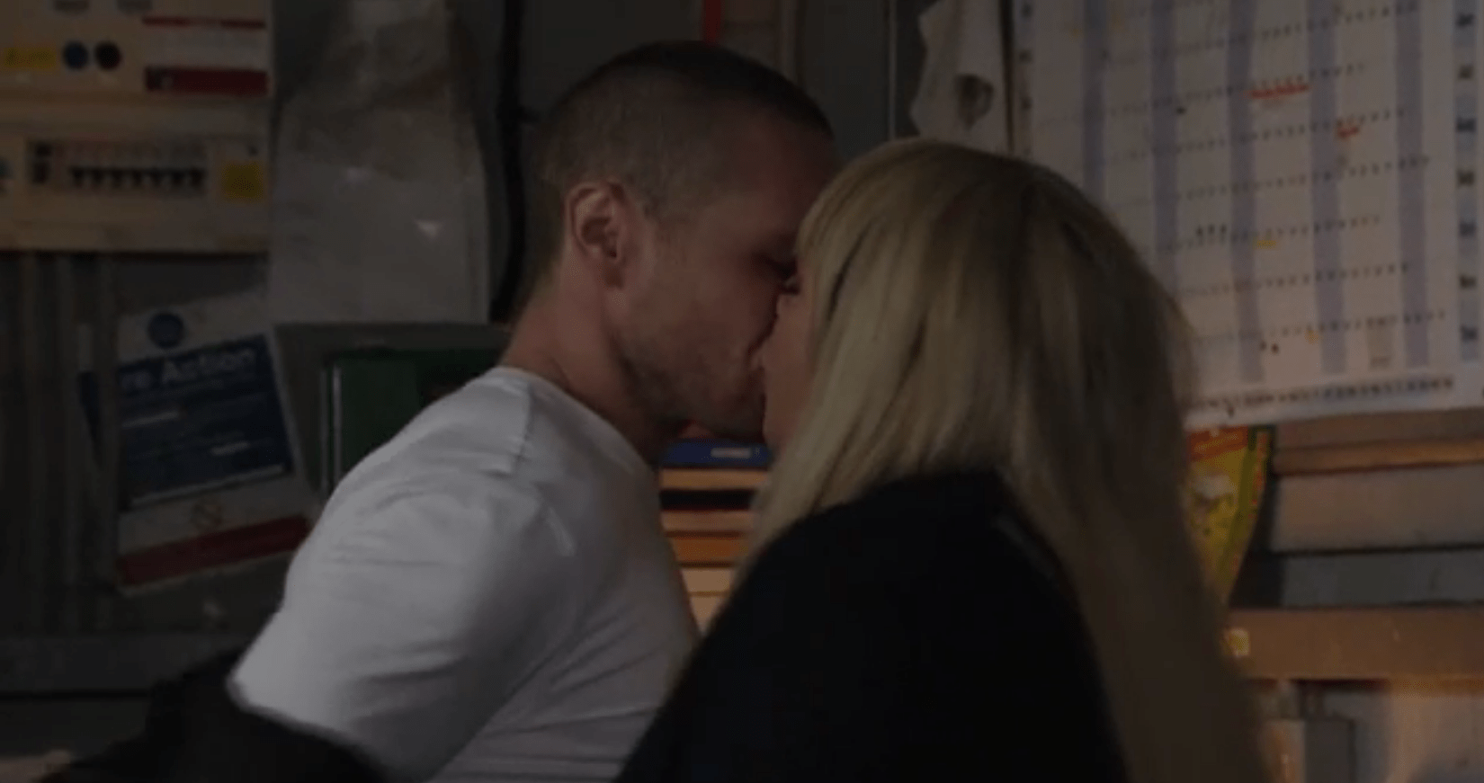 Sharon and Keanu kiss in EastEnders