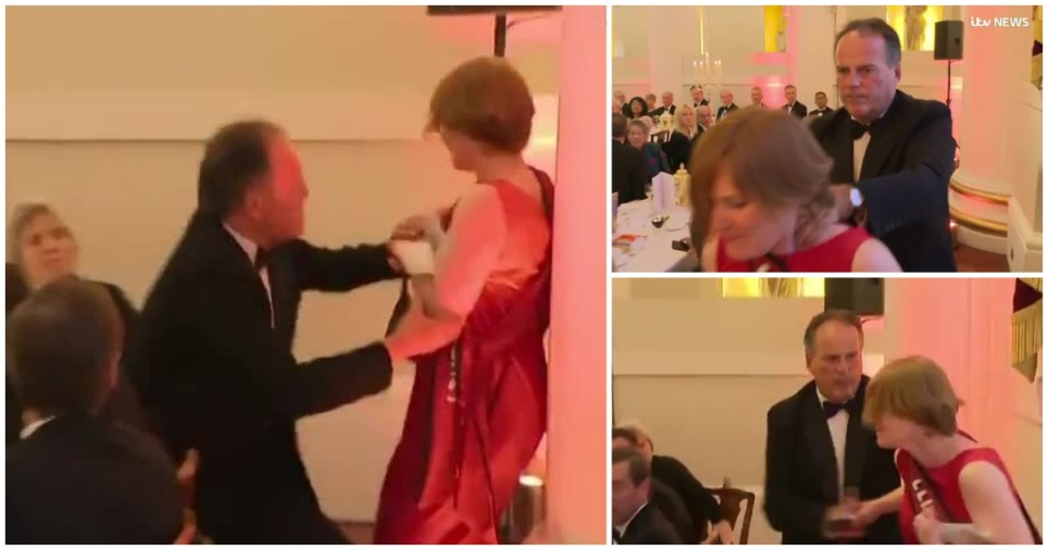 Foreign Office minister Mark Field removes climate change protester from Mansion House