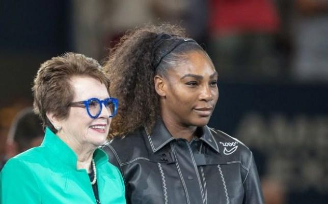 Billie Jean King stands alongside Serena Williams
