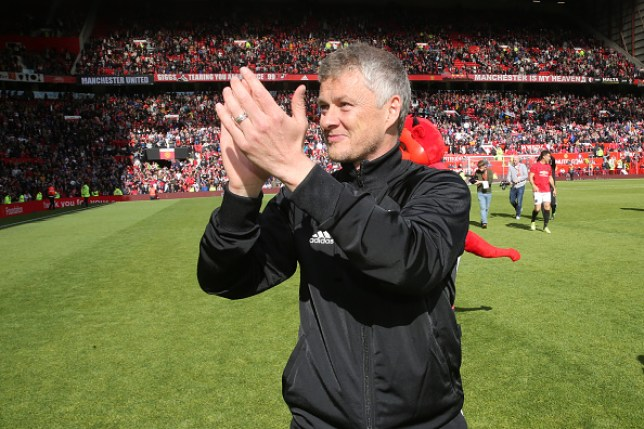 MANCHESTER, ENGLAND - MAY 26: Ole Gunnar Solskjaer of Manchester United '99 Legends acknowledges the fans at the end of the 20 Years Treble Reunion match between Manchester United '99 Legends and FC Bayern Legends at Old Trafford on May 26, 2019 in Manchester, England. (Photo by John Peters/Man Utd via Getty Images)