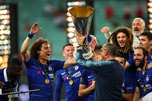 Chelsea head coach/manager, Maurizio Sarri, lifting the UEFA Europa League trophy during the UEFA Europa League Final