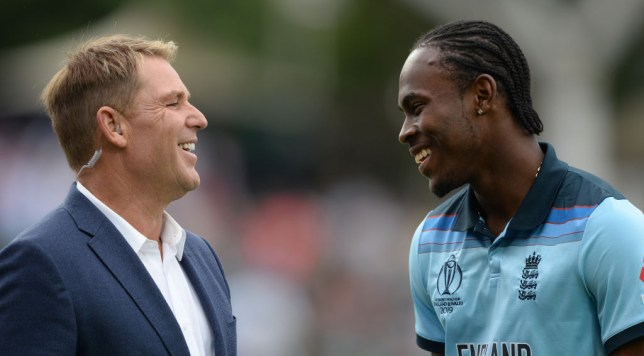 New England star Jofra Archer with Australia legend Shane Warne