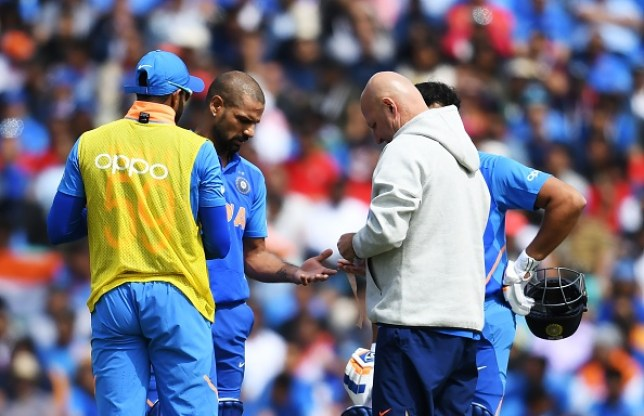 Shikhar Dhawan suffered an injury during India's World Cup win over Australia