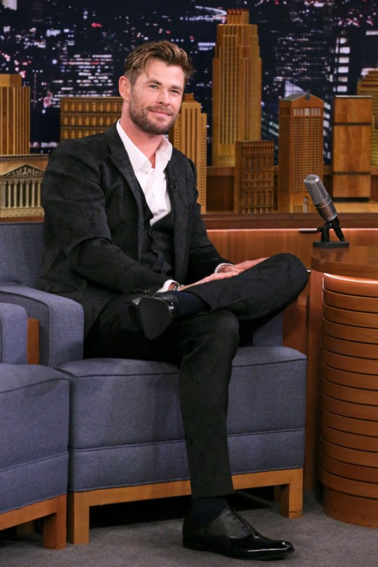 Chris Hemsworth during an interview on The Tonight Show Starring Jimmy Fallon