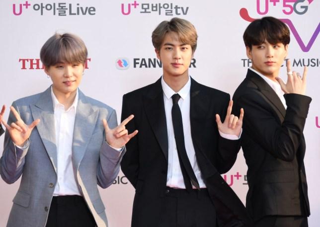 Suga, Jin and Jungkook of BTS