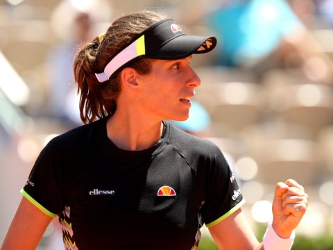 Britain's last French Open quarter-finalist Jo Durie reacts to Johanna Konta's efforts