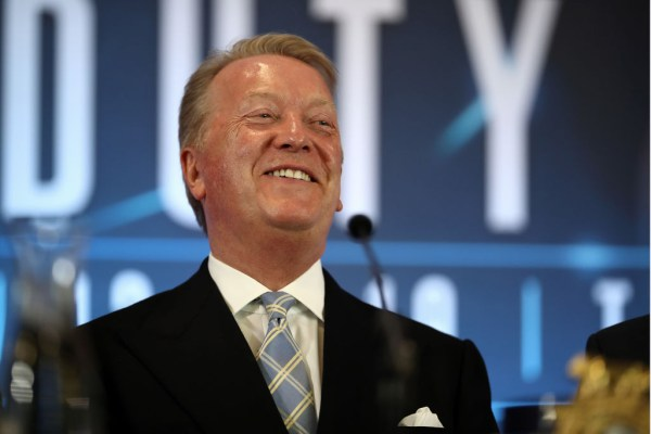 LONDON, ENGLAND - JUNE 05: Boxing Promoter Frank Warren laughs at a joke in a press conference on June 05, 2019 in London, England. (Photo by Bryn Lennon/Getty Images)