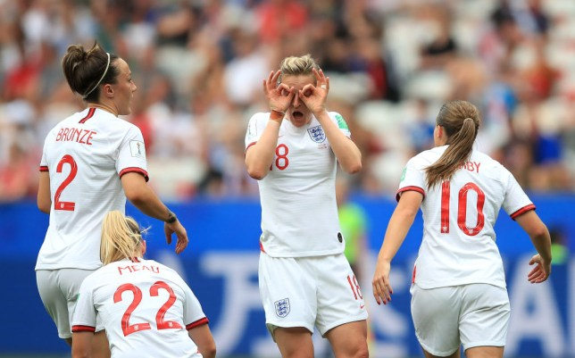 Ellen White of England celebrates with teammates after scoring a goal in the Women's World Cup 2019