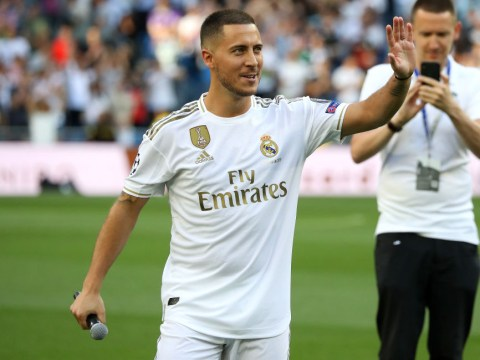 Real Madrid fans chant for Kylian Mbappe at Eden Hazard's presentation