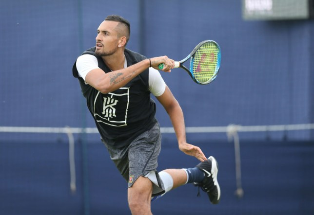 Nick Kyrgios trains at Queen's